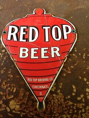"Vintage Porcelain Red Top Beer Sign Cincinnati Ohio ""Nice"" Gas & Oil"