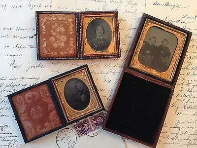 Lot of 3 Antique Ambrotype/Tintypes in Vintage Cases 1800s Tinted