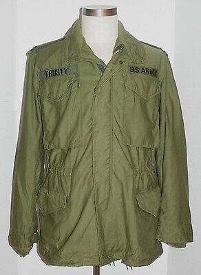 Vintage 1970 Vietnam War Us Army M-65 Field Jacket! Captain Bars! Nice Shape! S