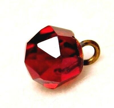 """ANTIQUE Faceted Glass CHARMSTRING Button GARNET RED Dimunitive  3/8"""""""
