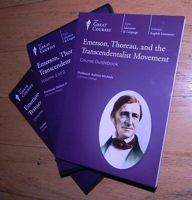 The Great Courses EMERSON THOREAU TRANSCENDENTALIST MOVEMENT CDs With Guidebook.