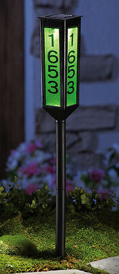 Solar Powered Color Changing Lighted Home Address Marker Garden Yard Stake