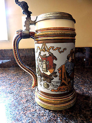 Antique Mettlach Pottery Lidded Stein 1/2 Liter - Number 2231 - 1906 - Excellent