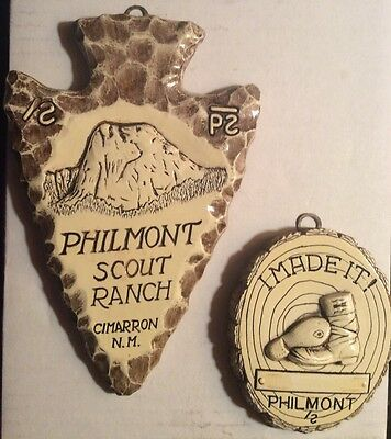 Vintage Boy Scout Philmont New Mexico Scouts Ranch Wall 2 Plaque Arrowhead vtg