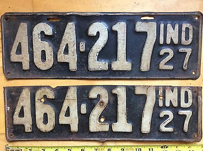 Two 2 INDIANA License Plates Tags IN 1927 27 Pair 464-217