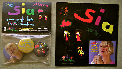 Sia Some People Have Problems Rare Promo Button Pack & Sticker Sheet New Mint