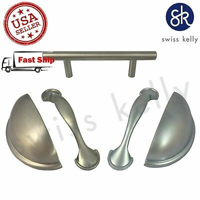 "Swiss Kelly CC:3"" Satin Cabinet Pull Drawer Handle T Bar Brushed Nickel Hardware"