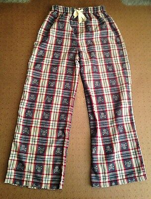 GAP KIDS SZ 12 Skull Pajama /Lounge Pants Plaid Elastic Waist Flame Resistant