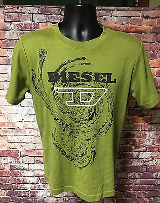 Diesel Boys Size Large Green Short Sleeve Graphics T Shirt Casual Cotton Blend