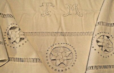 Antique Vintage French Sheet Embroidered Monogram T M Cutwork Metis Linen Cotton