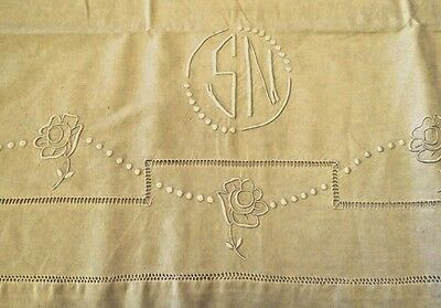 French Sheet Embroidered Antique Vintage Metis Linen Cotton Monogram S N Ladder
