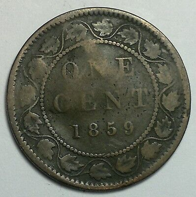 1859 Canada 1 cent coin, penny, damaged