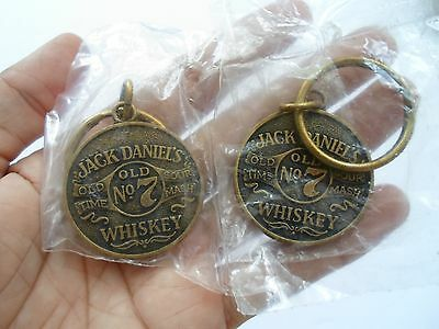 Vintage Jack Daniels Old No.7 Old Time Sour Mash Whiskey Key Chains, Lot Of 2