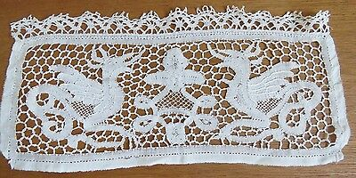 Antique Lace Doily Handmade French Table Tray Mat Bobbin Dragon Figural Mythical