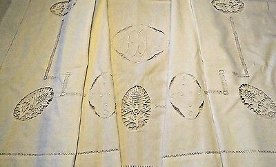 Antique Vintage French Sheet White Embroidered Needle Lace Metis Linen Cotton