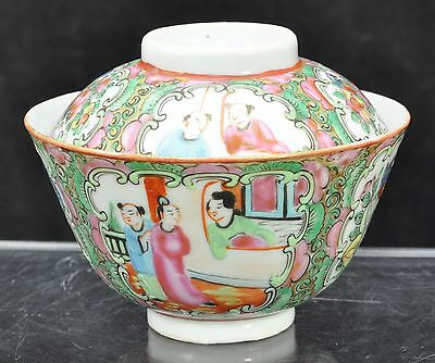 Antique Chinese Rose Medallion Porcelain Gaiwan Covered Bowl