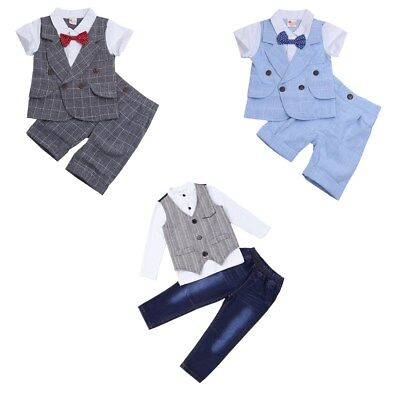 Baby Boys Summer Gentleman Outfits Bowtie T-shirt Tops Shorts Pants Set Clothes