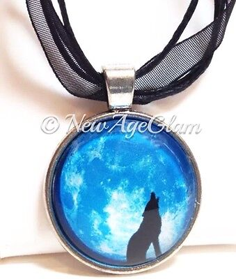 Wolf Howling on Full Moon_Glass Silver tone Pendant on Black Ribbon Necklace_N86