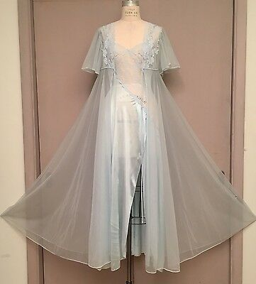 Vintage VAL MODE Sheer Lace Nightgown Peignoir Set Negligee Ice Blue Nylon Small