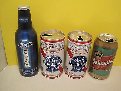 Pabst Blue Ribbon Beer, Bud Light Beer, and Bohemian Beer Cans