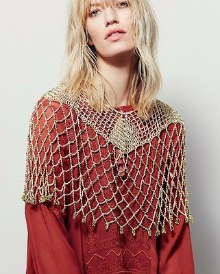 New Free People Moon Dancer Beaded Cape Gold SOLD OUT