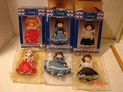 3 Vintage 1984 Ginny Vogue Porcelain Dolls 8 Inch In Box Dress Clothing Jointed