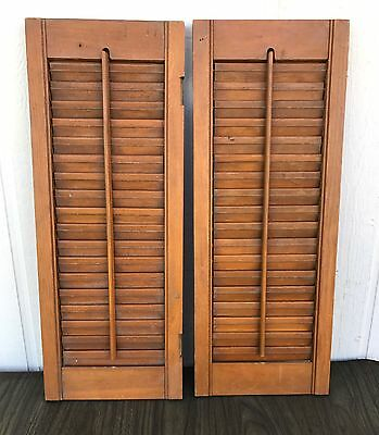 "Pair Vintage Interior Wood Shutters Louvers 22.25"" x 8.75"""
