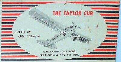 Vintage TAYLOR CUB Dumas 1/2-A FF or RC Model Airplane PLAN + All Parts Patterns