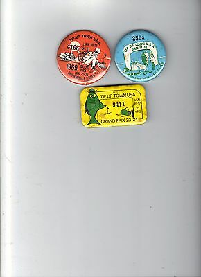 1969-70-71 Tip Up Town Badges Pins Pinback (Poor Cond.)-Michigan Deer Bear Patch