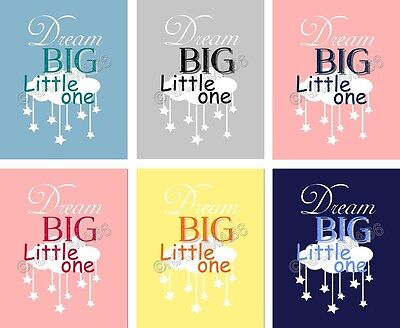 "Nursery Baby Decor 8x10 ""Dream Big Little One"" Wall Art Print - Assorted Colors"
