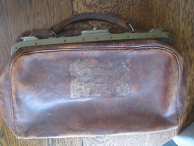 Small Vintage Leather Doctor's Satchel Valise Medical Bag