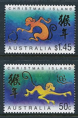 2004 Christmas Island Year of the Monkey set of 2 Fine Mint MNH/MUH