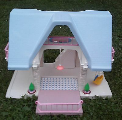 Vintage 1990's Little Tikes Blue Roof Doll House