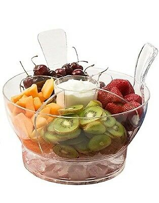 New Ice Chilled Serving Salad Bowl Dome Lid Serving Utensils Dip Cup Spacious
