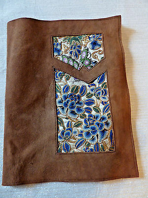 Book cover swede leather embroiderer vintage woven Bible Journal cover 8.5x6.5