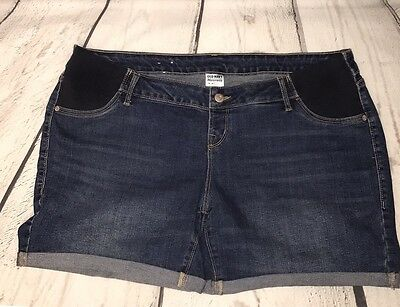 Maternity Old Navy Denim Jean Stretch Side Panel Shorts Size 14 Pregnant