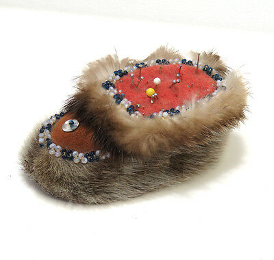 Vintage Beaded Pincushion Fur & Leather Moccasin Boot Native Folk Art Sewing
