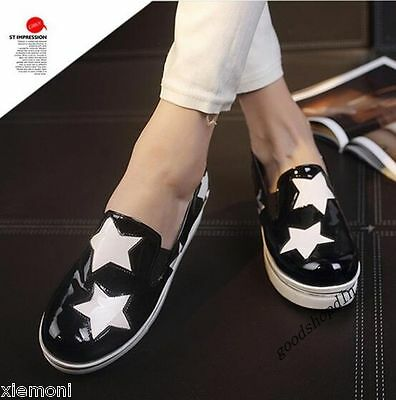 Patent Leather Womens Round Toe Star Platform Slip On Creeper Casual Black US 8