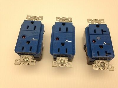 HUBBELL Transient Voltage Surge Suppressor Recepticales LOT: 2-15A, 1-20A