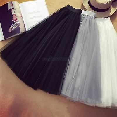 Women Princess Pleated Ballet Tulle Tutu Skirt Wedding Prom Party Bouffant Dress