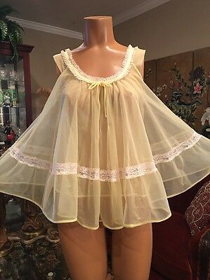 Vintage Tosca Lingerie Yellow Double Chiffon Babydoll Nightgown Small Medium