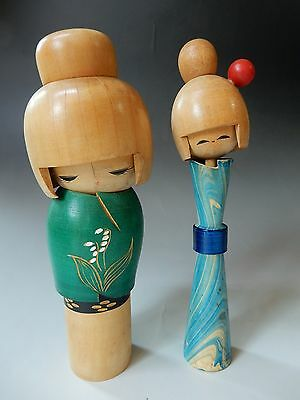 2pcs JAPANESE Artist work Sosaku Kokeshi Wood DOLLs Bobble head Girls 19cm 7.5""