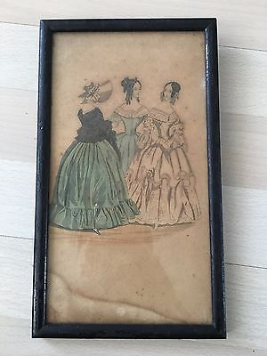 Antique Godey's Lady's Book Fashion Print Lithographs in Black Frame Old Picture