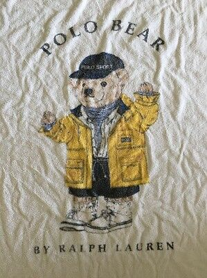 "Vtg Ralph Lauren Polo Bear 67""x 34"" Beach Towel Yellow Rain Jacket USA - Faded"
