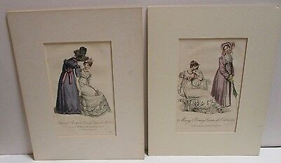 2 Lady'S Monthly Museum ?  Fashion Plates Hand Colored ?  With Mat 1816 1821
