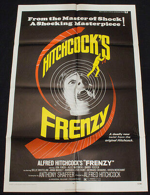 FRENZY Original 1972 Movie Poster ALFRED HITCHCOCK