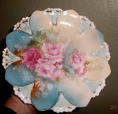 R S Prussia 1910 cabinet display plate molded with roses & 22k trim