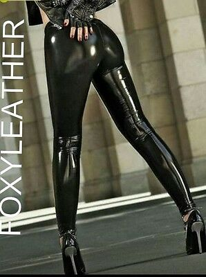 Black Shiny Leather Look, Pvc Look Leggings Not Pants. Not Latex, Rubber Feel