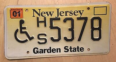 "New Jersey Handicapped Disabled Person License Plate  "" Hs 5378 "" Wheelchair"
