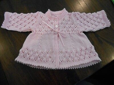 Newborn Baby's Pink Lace Matinee Jacket & Bootees. Size 0000.